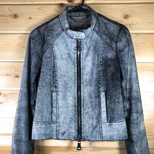 Milly Crackled Lamb Leather Jacket